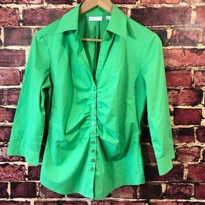 New York and Company small green shirt top blouse